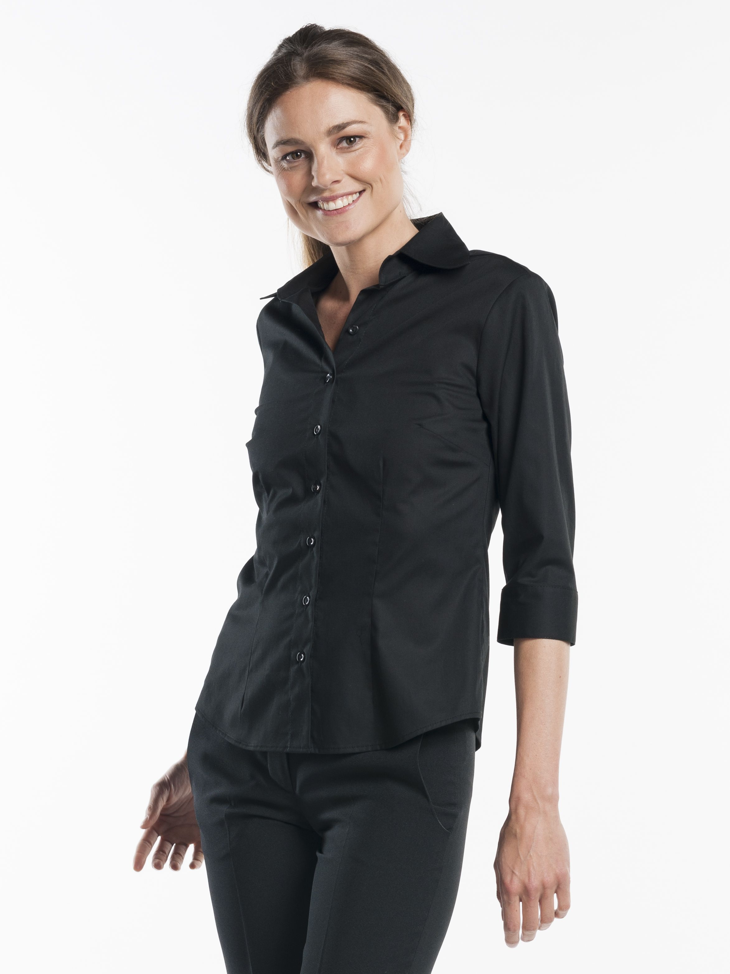 womens black button up blouse