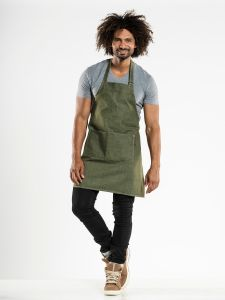 Bib Apron Base Green Denim W70 - L75