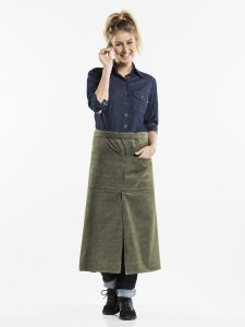 Apron 4-Pockets Green Denim W90 - L80