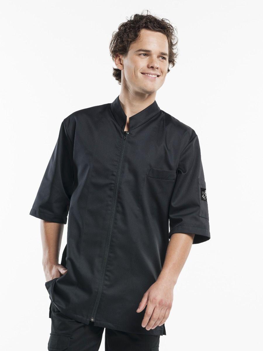 Chef Jacket Monza Black Short Sleeve