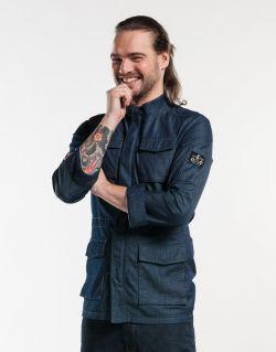 Chef Jacket Parka Blue Denim Stretch