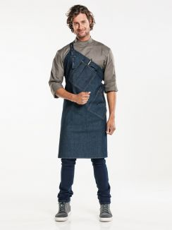 Bib Apron Skew Blue Denim W85 - L85