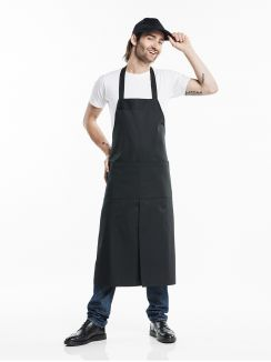 Bib Apron 4-Pockets Black W75 - L100