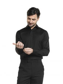 Shirt / Blouse Men Black Stretch