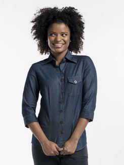 Shirt Women Blue Denim Stretch 3/4 Sleeve