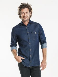 Shirt Men Blue Denim Stretch