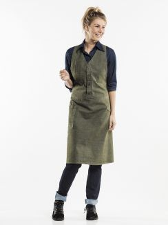 Bib Apron Bistro Green Denim W100 - L85